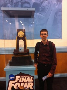 Jeremy Rosenthal with the Women's Final Four trophy